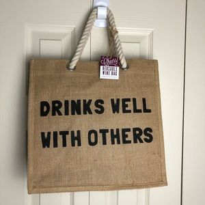 Drinks well with others 6 bottle canvas wine tote
